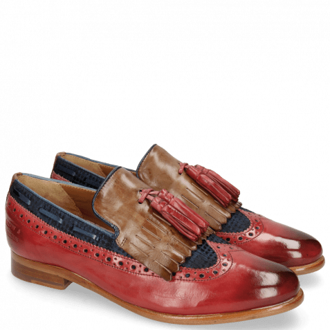 Mocassins Selina 3 Ruby Mid Brown Textile Dots Blue