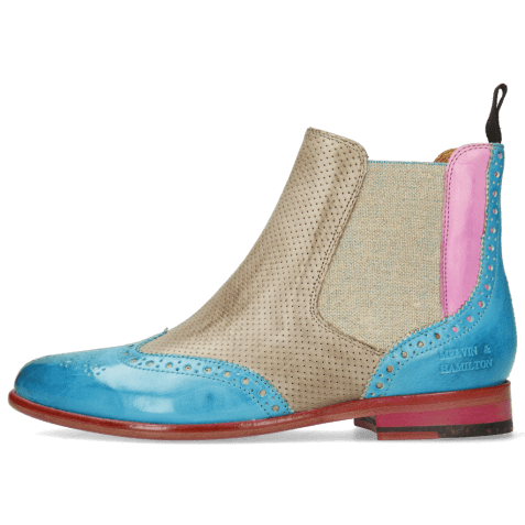 Bottines Selina 6 Vegas Turquoise Fuxia Perfo Light Grey