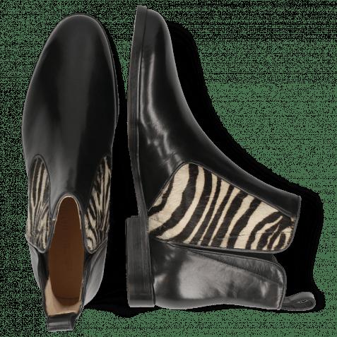 Bottines Susan 34 Black Hairon Zebra Elastic