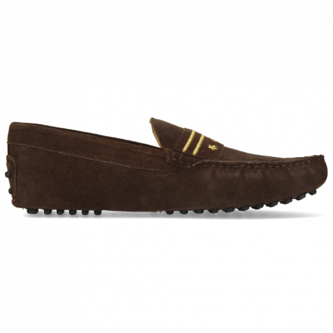 Mocassins Nelson 9 Suede Pattini Dark Brown Embroidery Gold