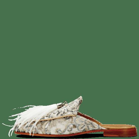 Mules Scarlett 2 Textile Zardosi Beige Feather