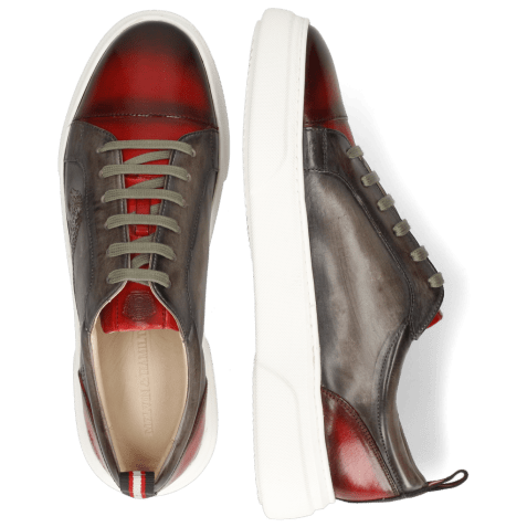 Sneakers Harvey 12 Red Grigio Shade Lasercut Leopard