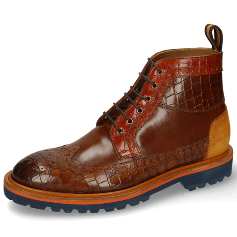Bottines Matthew 9 Crock Mid Brown Winter Orange Suede Pattini