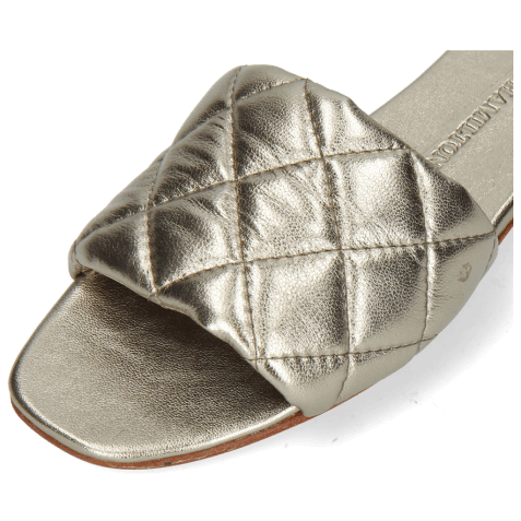 Mules Elodie 37 Metallic Nappa Pewter Footbed