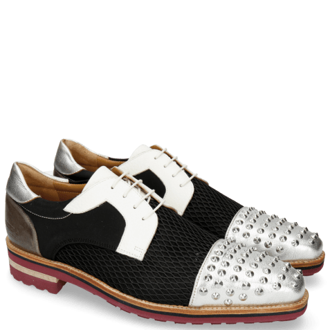 Derbies Lance 46 Cherso Silver Net Black Milled White
