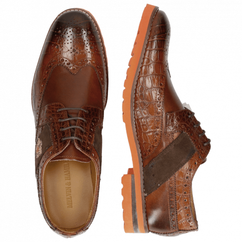 Derbies Eddy 25 Big Croco Brown Embrodery