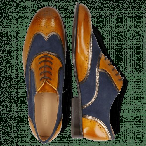 Oxford schoenen Sally 38 Indian Yellow Nappa Aztek Gold Suede Navy