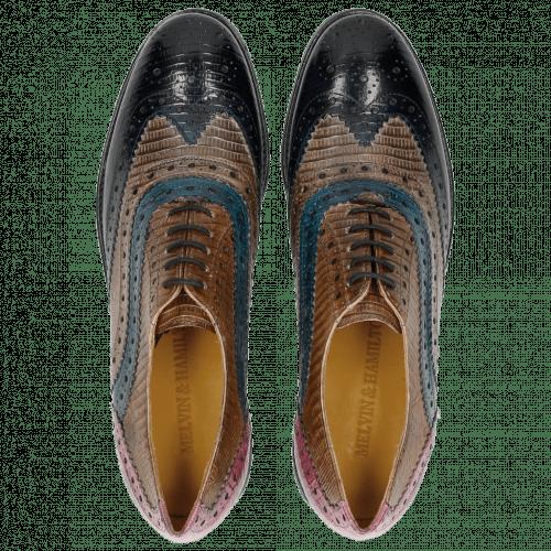 Oxford schoenen Amelie 10 Guana Navy Light Grey Mid Blue Tortora Fuxia