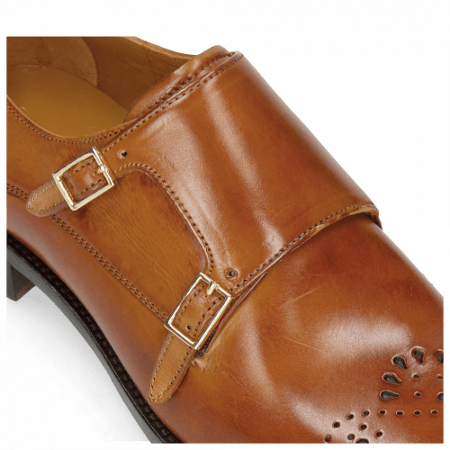 Monks Betty 9 Tan Cube Buckle Gold Lining Rich Tan