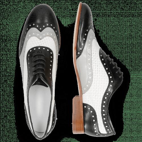 Oxford schoenen Sally 97 Salerno Black French Grey Nappa Perfo White