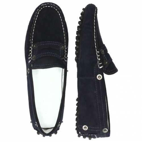 Loafers Caroline 1 Goat Suede Navy Dots
