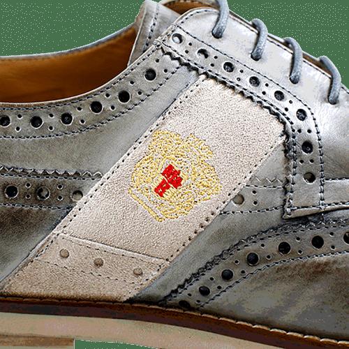 Derby schoenen Eddy 25 Crust Morning Grey Strap Suede Rope Embrodery Orange Aspen Sabbia