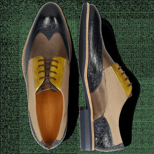 Derby schoenen Bobby 1 Croco Marine Imola Dice Chestnut Vegas Olivine Textile Indonesia