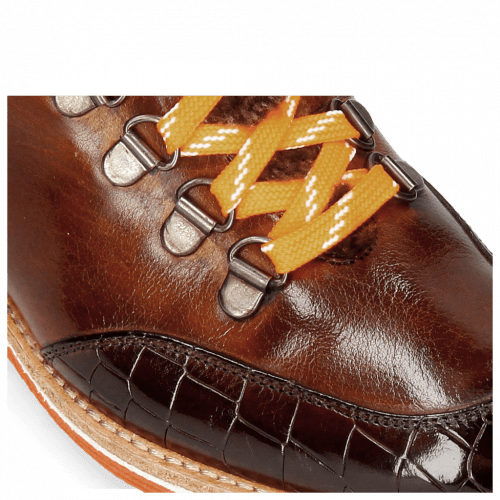 Enkellaarzen Amelie 71 Crock Mogano Wood Tongue Sherling Cognac