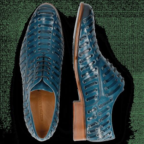 Oxford schoenen Henry 25 Mid Blue Eyelet Gunmetal
