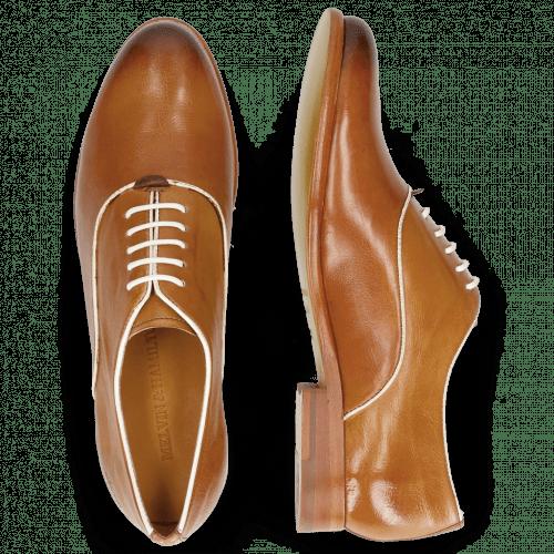 Oxford schoenen Selina 4 Pisa Tan Binding Patent White