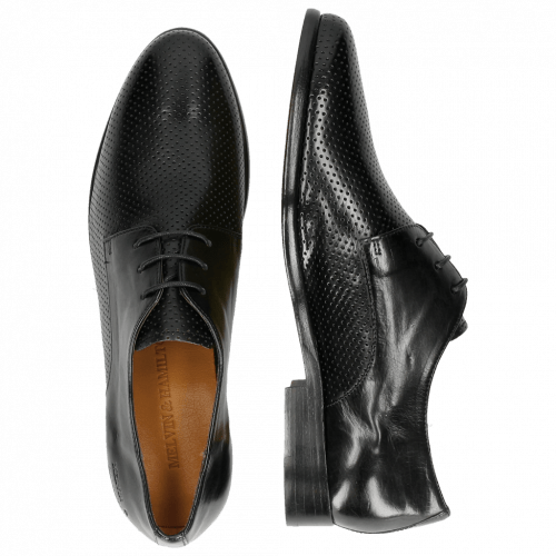 Derby schoenen Selina 23 Perfo Black Rich Tan