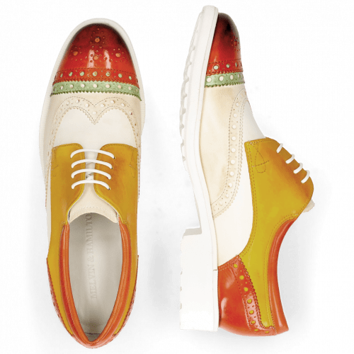 Derby schoenen Amelie 85 Vegas Sweet Heart Nude White Yellow Glove Nappa Kumquat