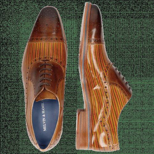 Oxford schoenen Lewis 36 Tan Sand Lines Dark Brown