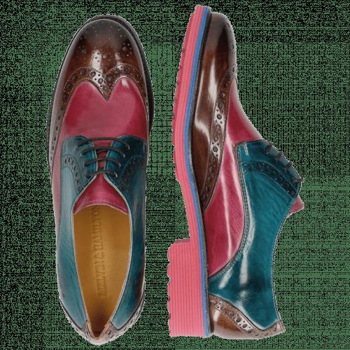 Derby schoenen Amelie 3 Mink Dark Pink Turquoise Mink Rook D Fuxia