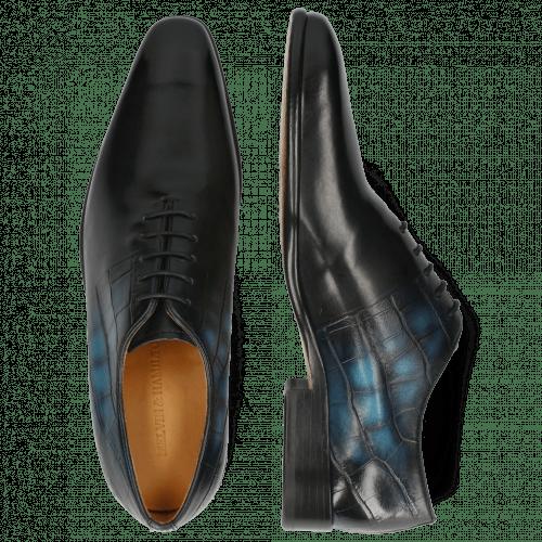 Oxford schoenen Lance 61 Spector Big Croco Patina Black Bluette