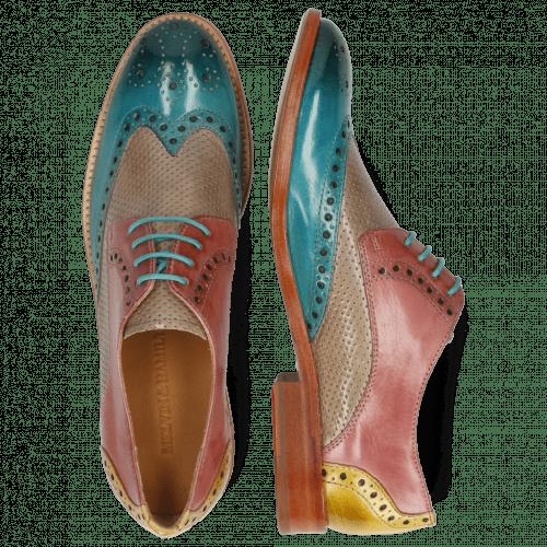 Derby schoenen Amelie 3 Abyss Perfo Oxygen Rose Margarine