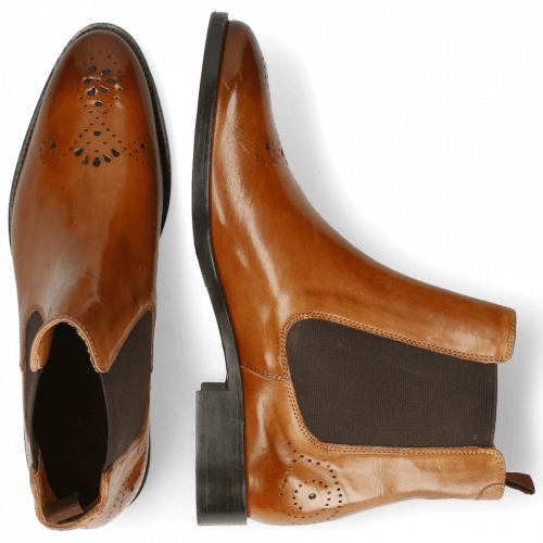 Enkellaarzen Betty 1 Cognac Elastic Dark Brown