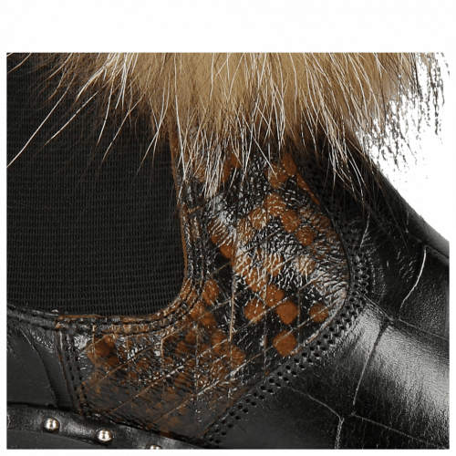 Enkellaarzen Sally 114 Turtle Black Python Brown Elastic Black Collar Lionel Fur