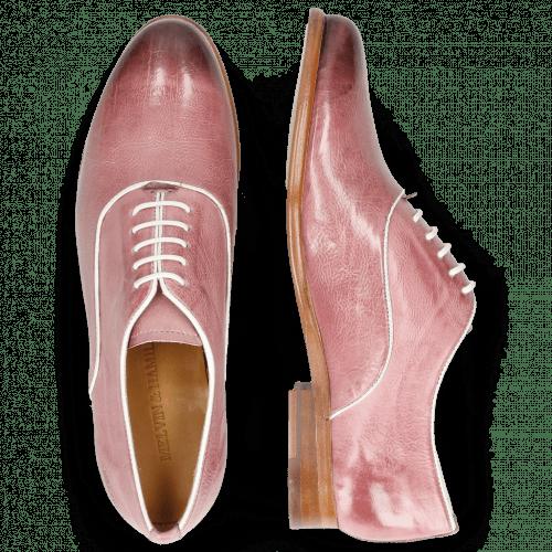 Derby schoenen Selina 4 Pisa Lilac Binding Patent White