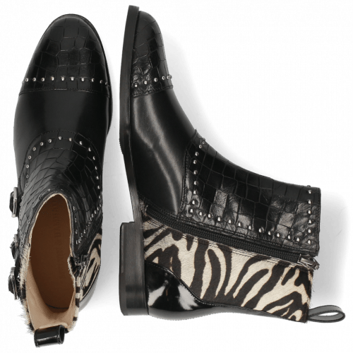 Enkellaarzen Susan 45 Crock Black Hairon New Zebra