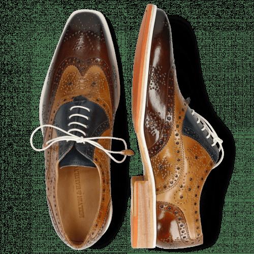Oxford schoenen Jeff 28 Mid Brown Bamboo Navy Sand Wood