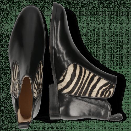 Enkellaarzen Susan 34 Black Hairon Zebra Elastic