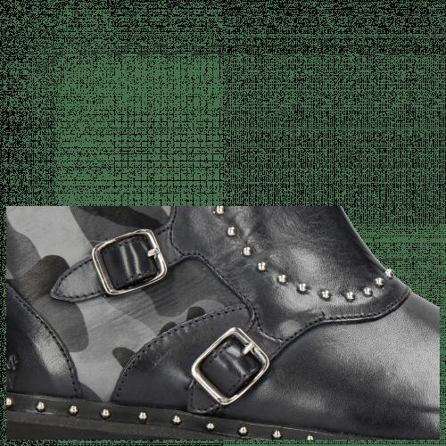 Enkellaarzen Susan 45 Navy Textile Camo Metallic Blue Loop Rivet