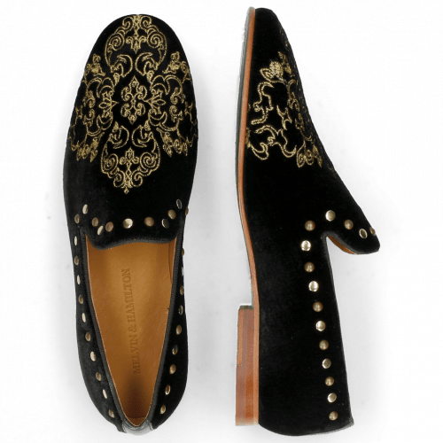 Loafers Clive 14  Velluto Black Embroidery Ethnic Gold