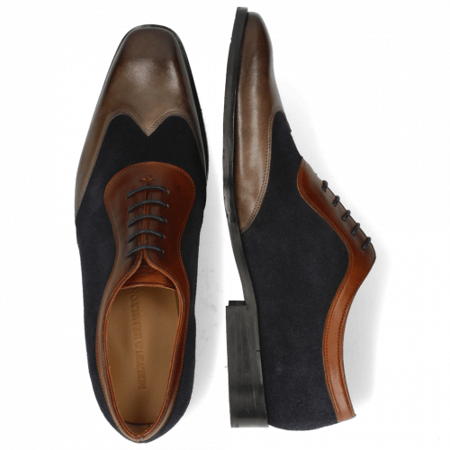 Oxford schoenen Rico 8 Rio Stone Suede Pattini Perfo Navy Mid Brown