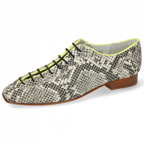 Oxford schoenen Sofia 6  Snake Off White Binding Lycra Fluo Yellow