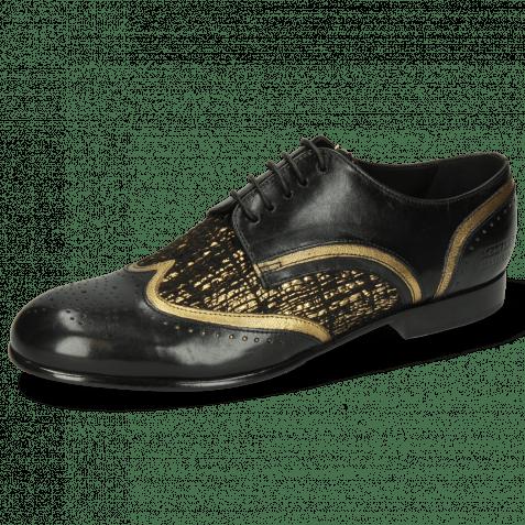 Derby schoenen Sally 15 Black Venito Gold Textile Tweed Black Gold