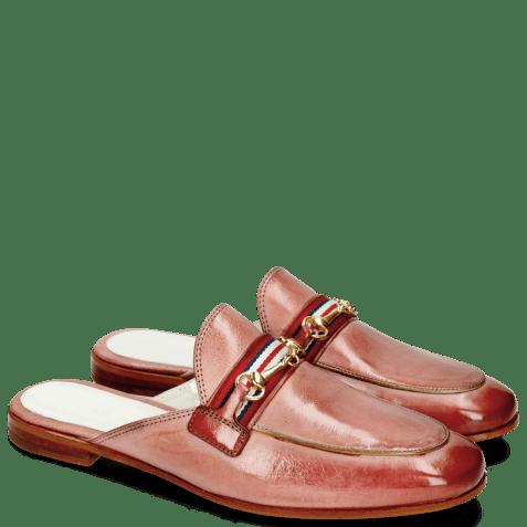 Muiltjes Scarlett 46 Glove Nappa Pink Salt Trim Gold