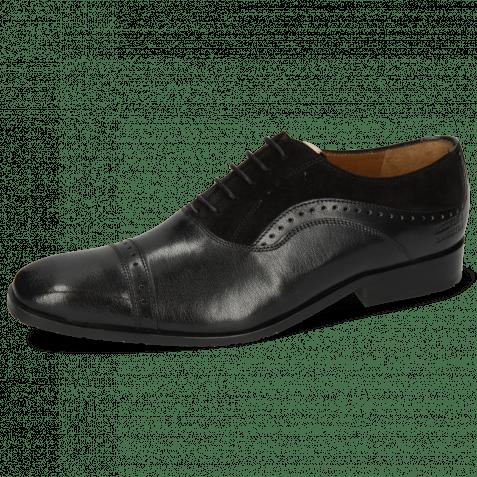 Oxford schoenen Rico 42 Rio Black Suede Pattini Black Patch