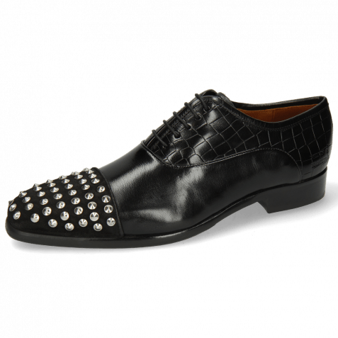 Oxford schoenen Lance 23 Suede Pattini Crock Black Rivets