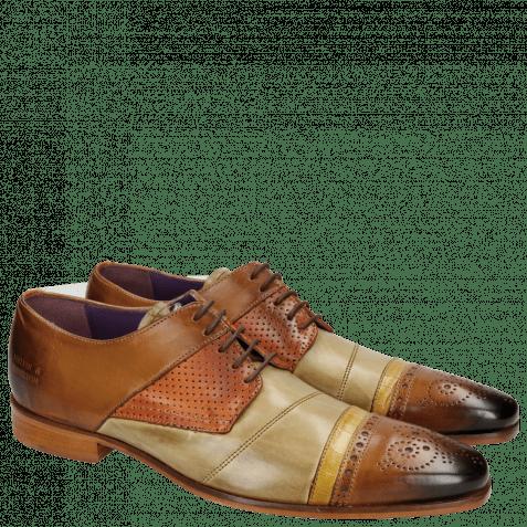 Derby schoenen Elvis 14 Tan Verde Chiaro Big Croco Yellow Perfo Orange