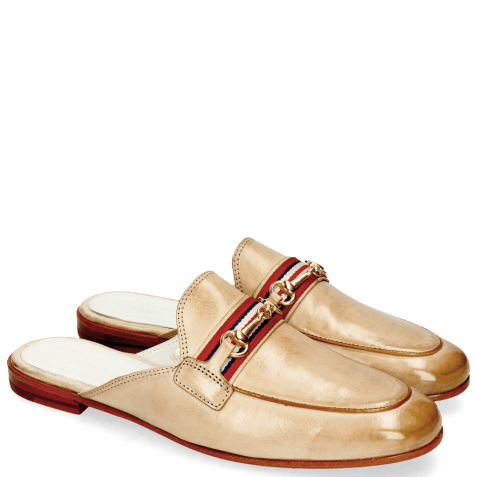 Muiltjes Scarlett 46 Glove Nappa Ivory Tan Trim Gold
