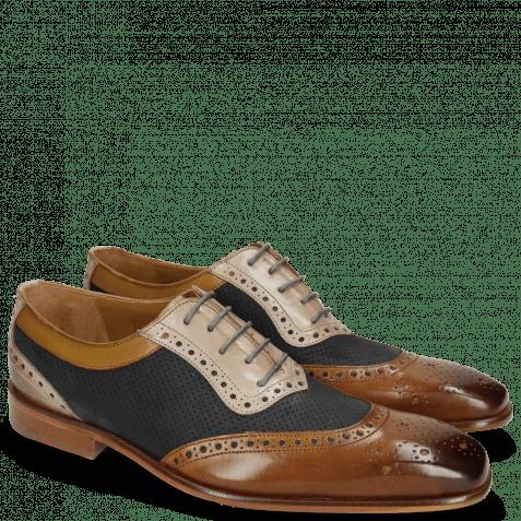 Derby schoenen Clark 16 Nougat Nubuck Perfo Navy Digital
