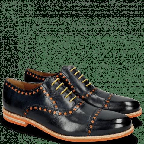Oxford schoenen Scott 15  Navy Underlay Patent Fluo Orange