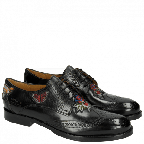 Derby schoenen Amelie 46 Crust Black Embrodery