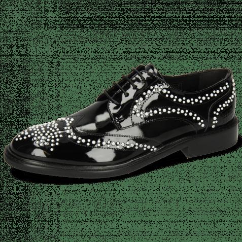 Derby schoenen Sally 53 Patent Black Rivets White