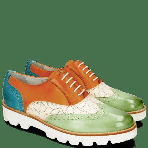 Oxford schoenen Selina 24 Vegas Lawn Perfo White Tibet Turquoise