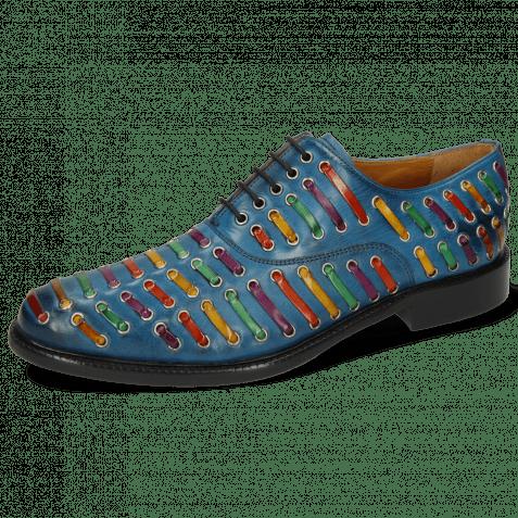 Oxford schoenen Henry 25 Mid Blue Interlaced Multi