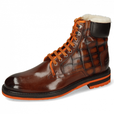 Enkellaarzen Trevor 35 Mogano Fluo Orange Turtle Wood Fur