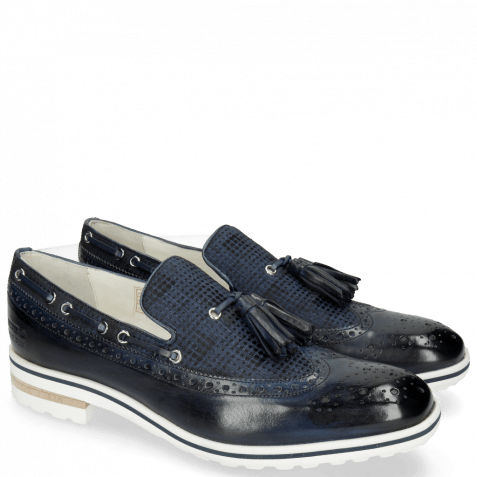 Loafers Eddy 16 Navy Textile Dots Blue